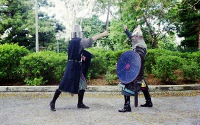 Two medieval knights fighting