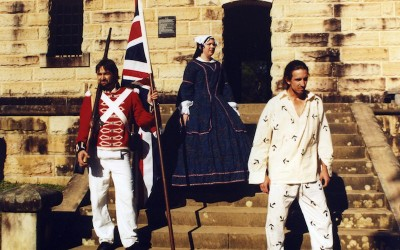 Colonial characters on steps